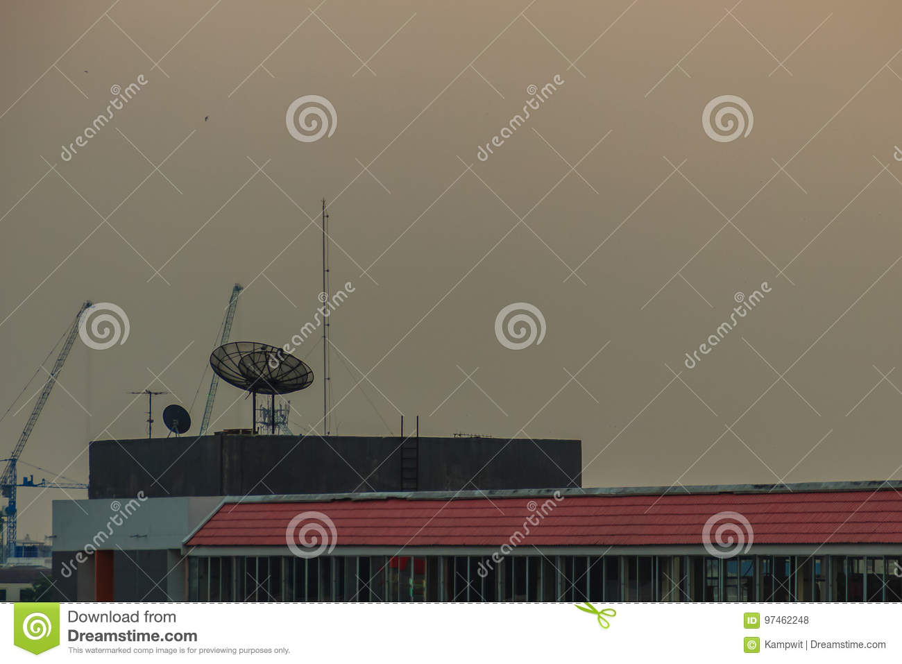 Satellite Dishes On Concrete Deck Top Roof Floor Of The