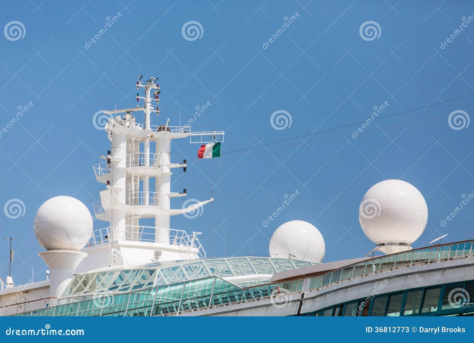 Satellite Equipment On Cruise Ship Under Italian Flag