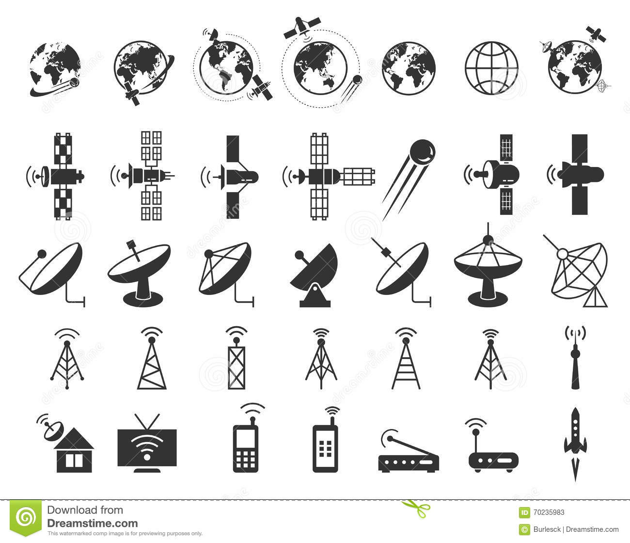 satellite icons vector stock vector  illustration of broadcasting