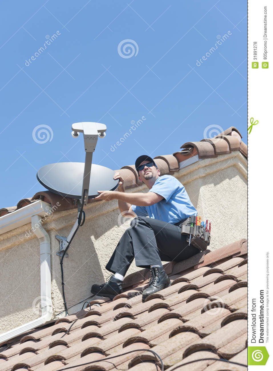 Satellite Installer On Roof Stock Photo Image Of Working