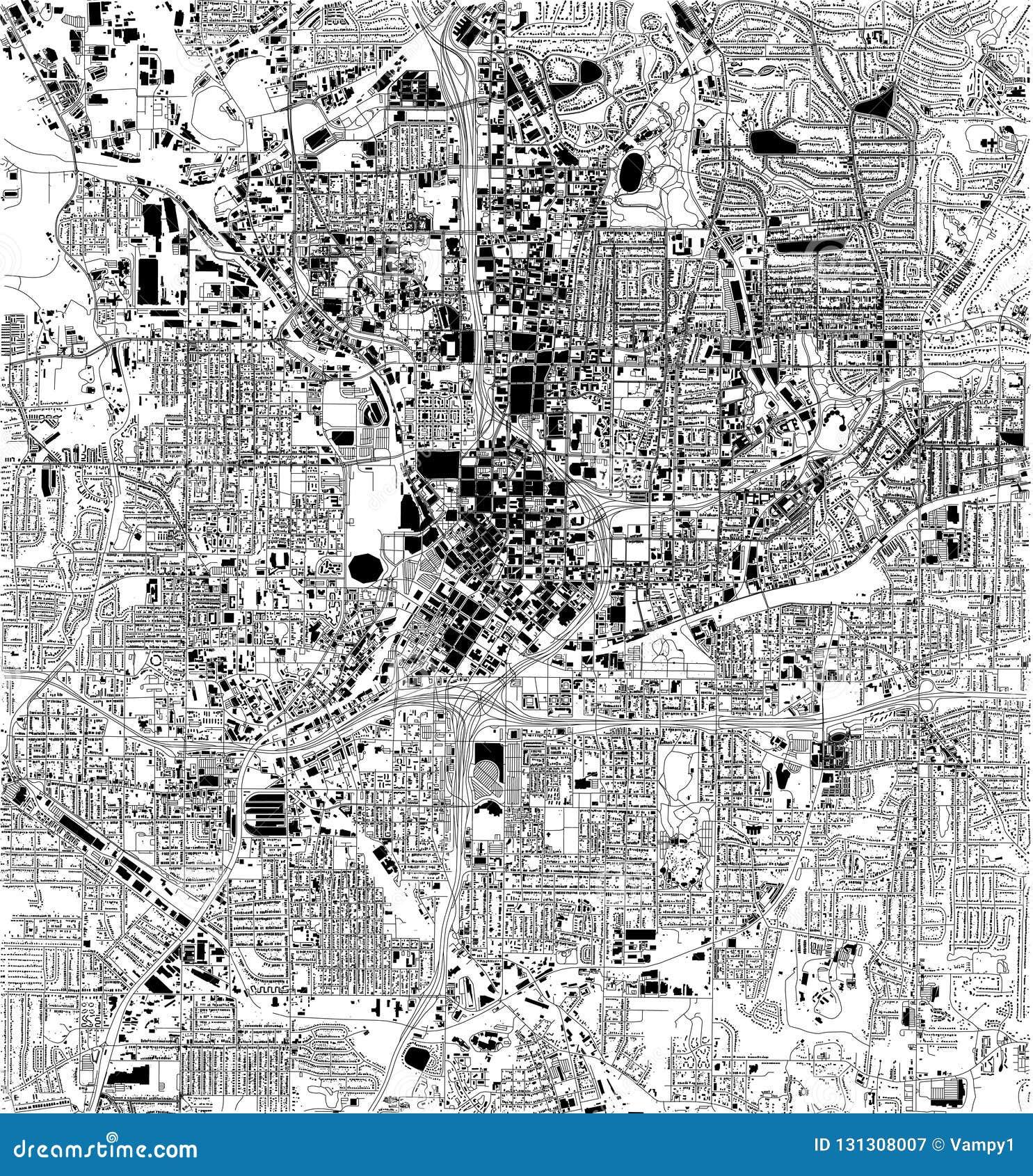 Satellite Map Of Georgia Usa.Satellite Map Of Atlanta Georgia Usa City Streets Stock Vector
