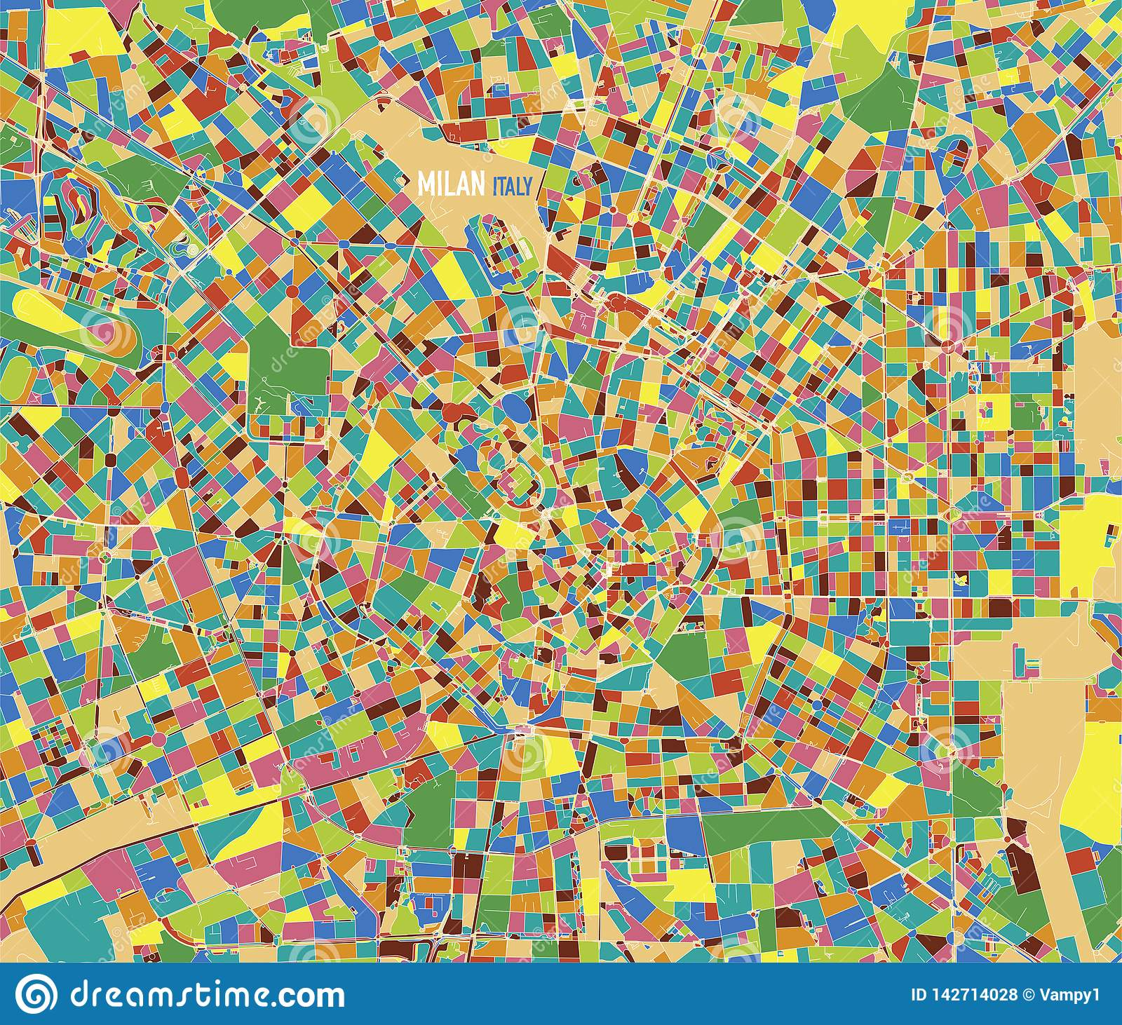 Satellite Map Of Milan, Italy, Cultural And Historic Center. Streets ...
