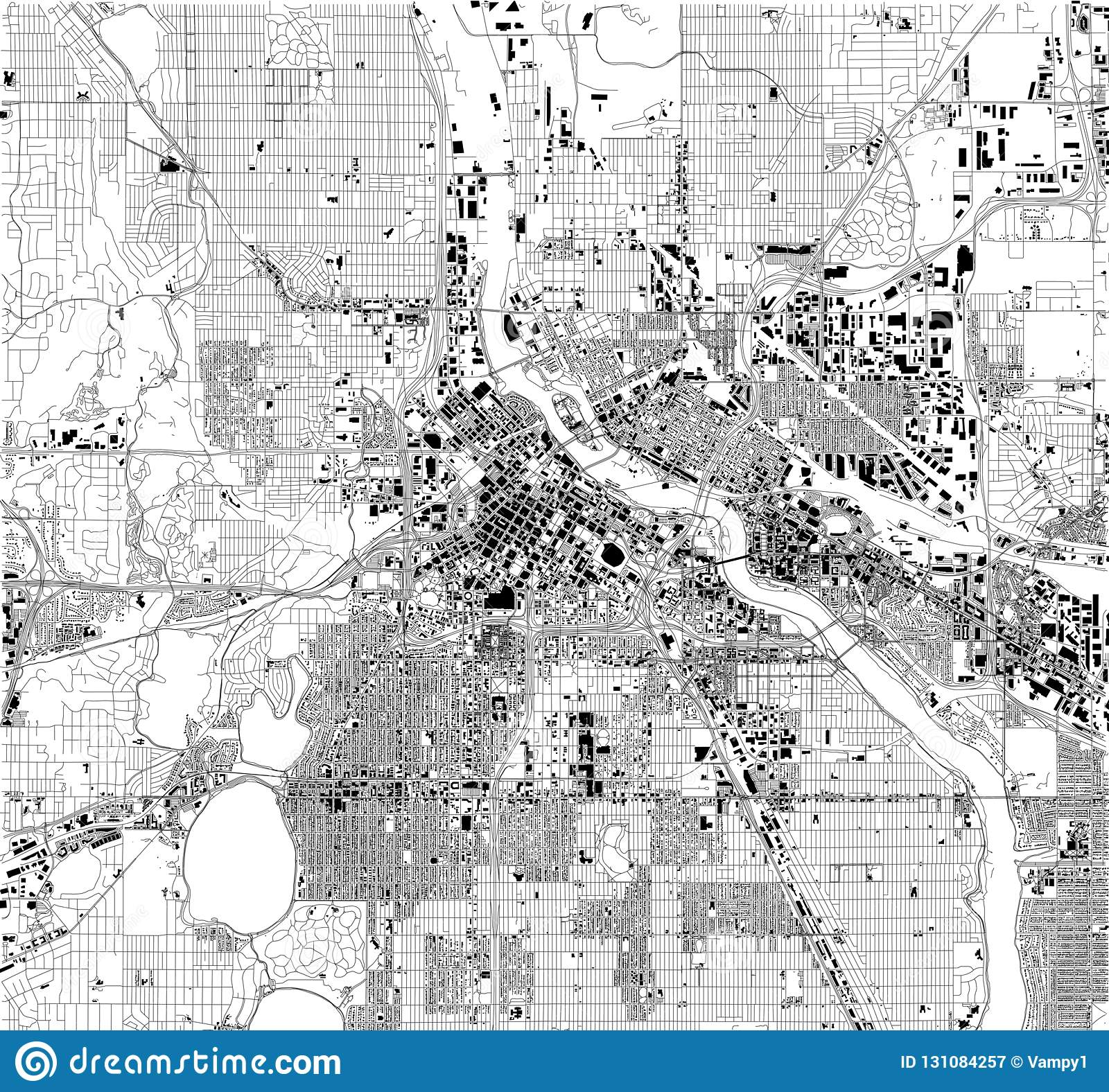 Satellite Map Of Minneapolis, Minnesota, Usa, City Streets Stock ...