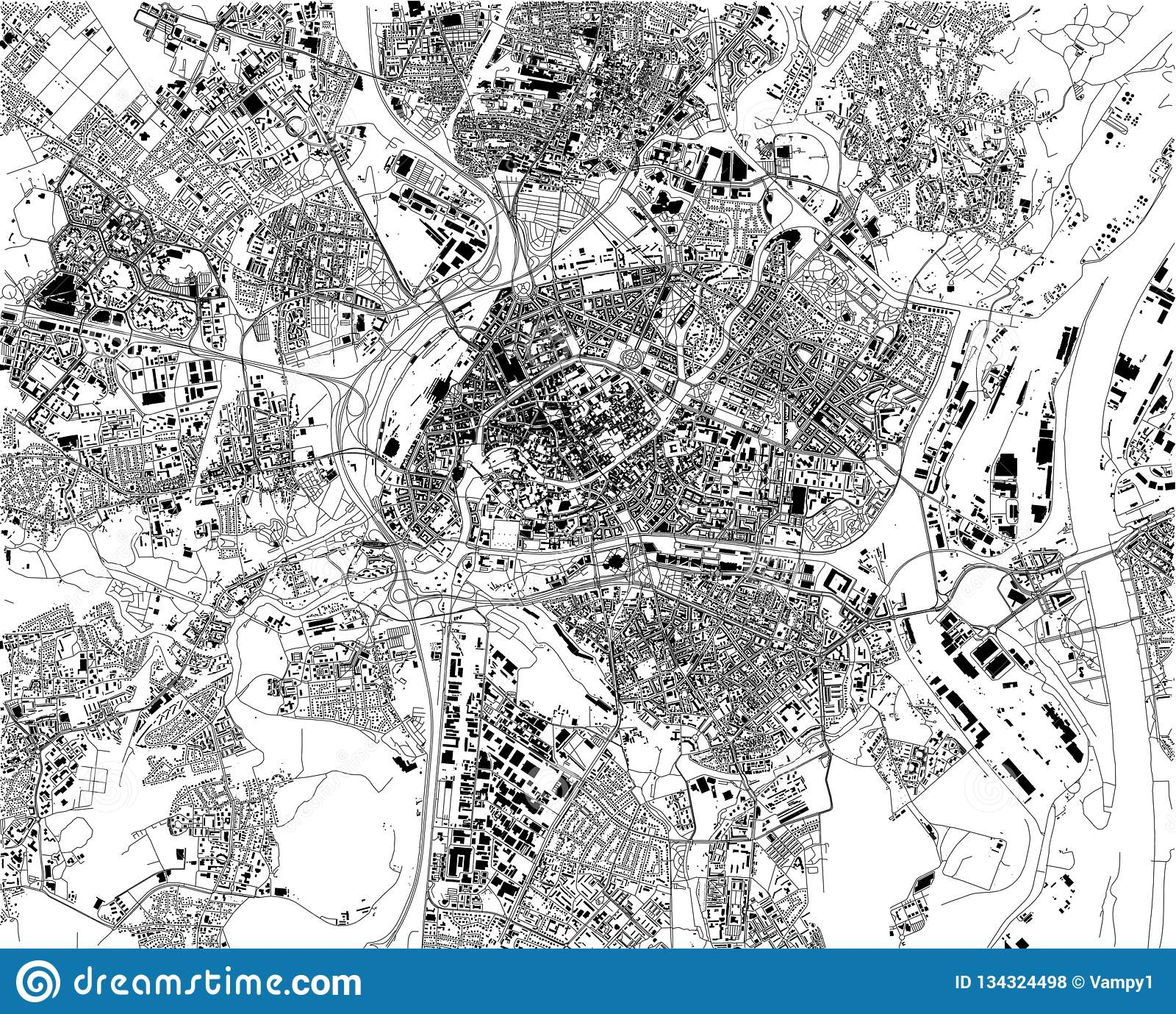 Satellite Map Of Strasbourg, France, City Streets Stock Vector ...