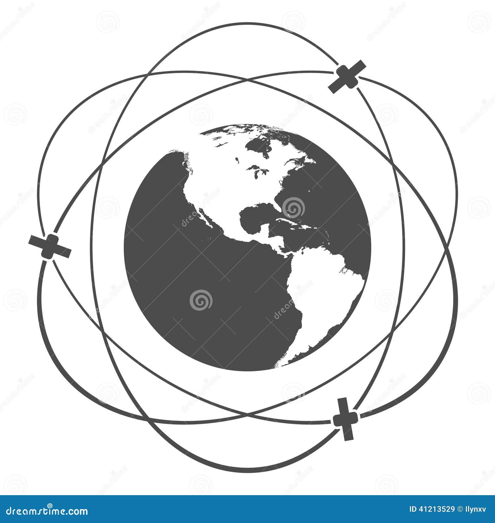 satellite orbit stock vector  illustration of background