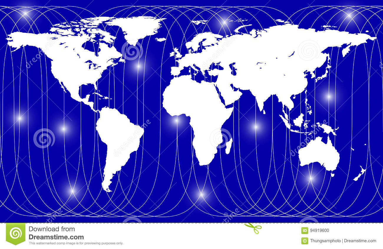 Satellite Path Over Earth Map Stock Vector Illustration Of Network