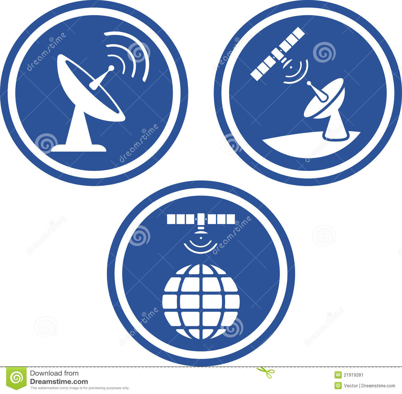 satellite radar dish vector icons stock vector image