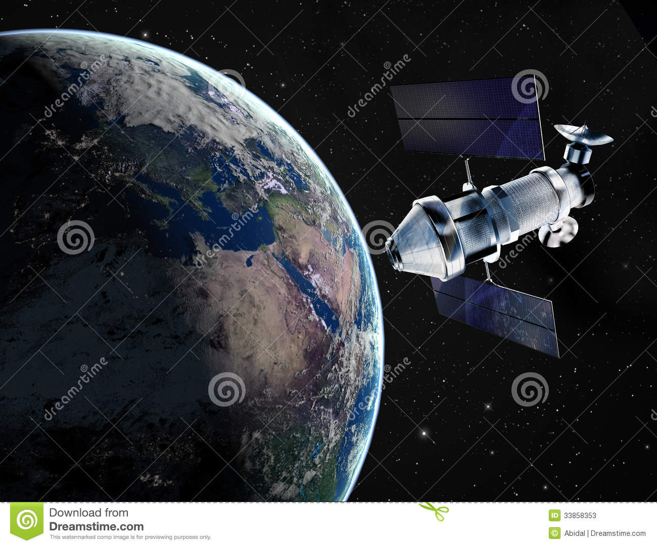 Satellite In Space Stock Illustration Image Of Panel