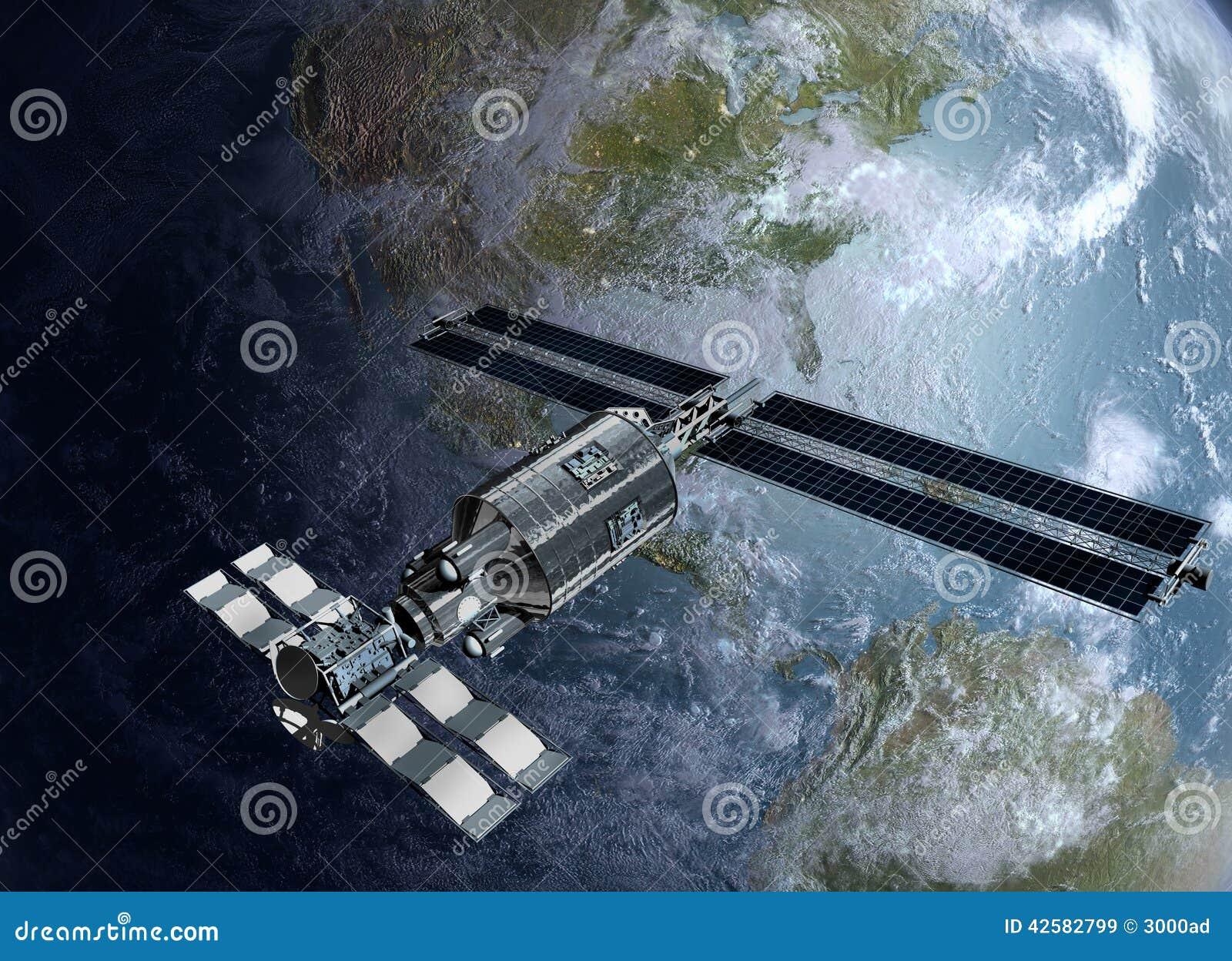 Satellite Spacelab Or Spacecraft Design For Sci F Stock