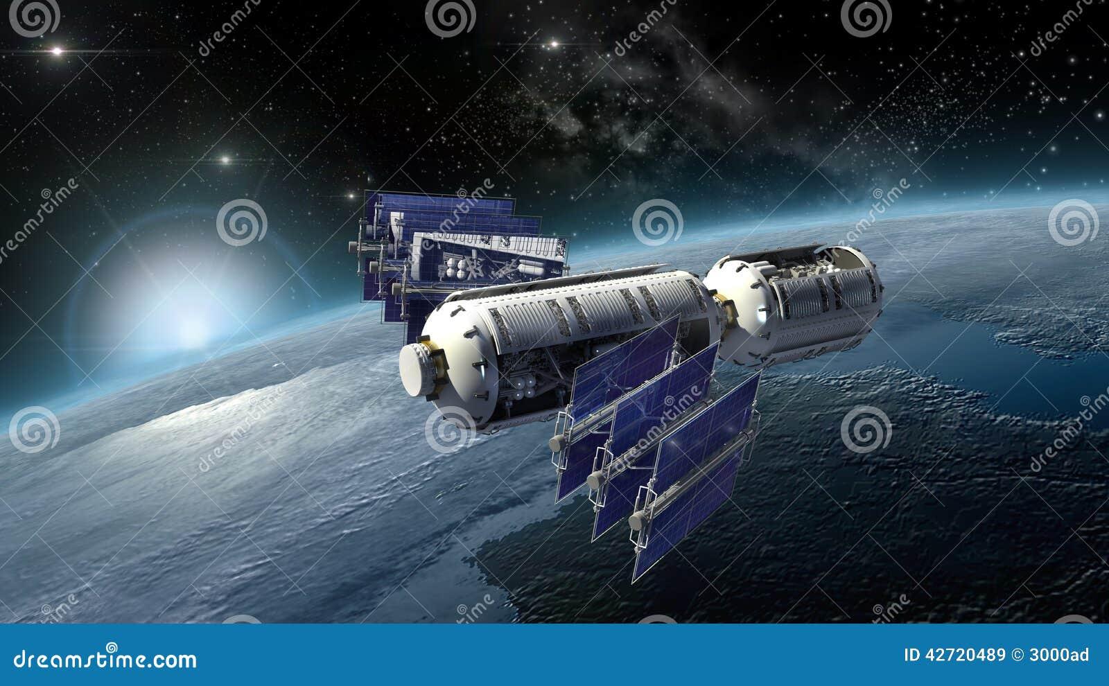Satellite Spacelab Or Spacecraft Surveying Earth Stock Image