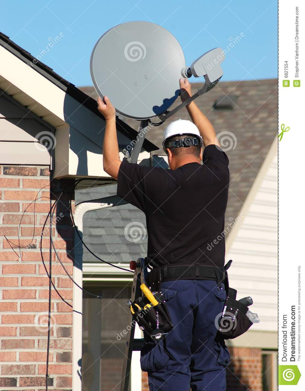 satellite technician stock images
