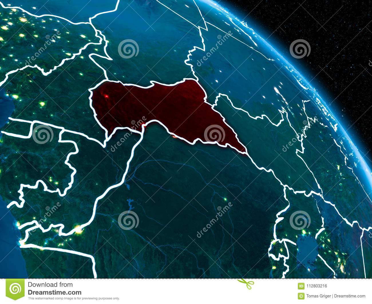 Satellite View Of Central Africa At Night Stock Illustration