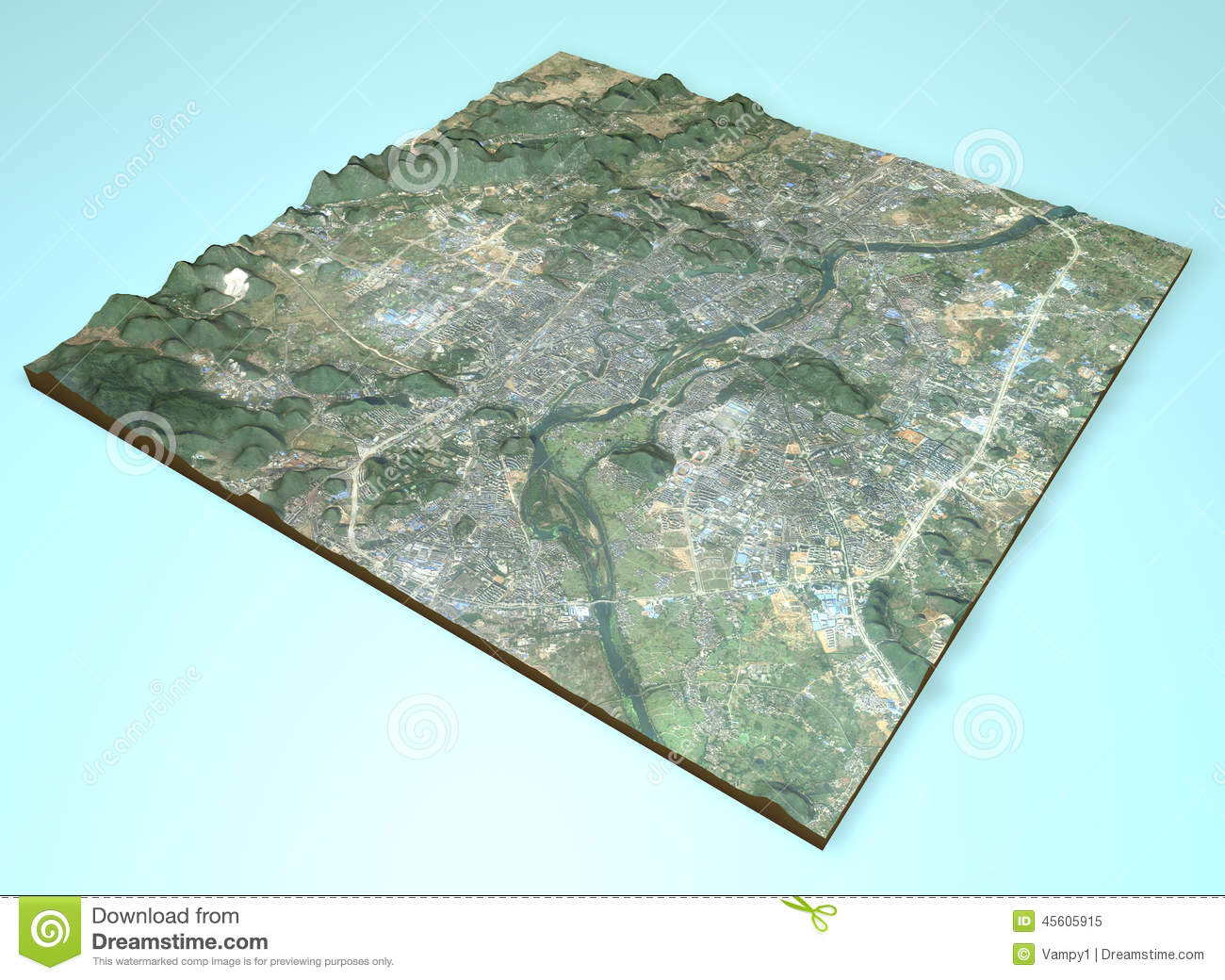 Satellite view of Guilin, China, map, section 3d