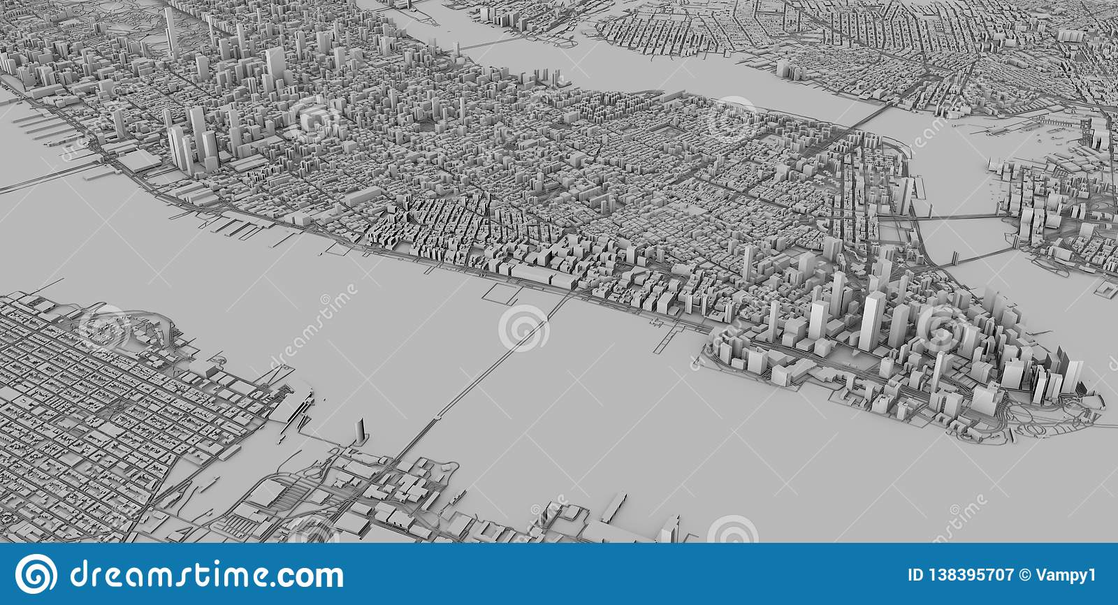 Map Of New York 3d.Satellite View Of New York City Map 3d Buildings 3d Rendering