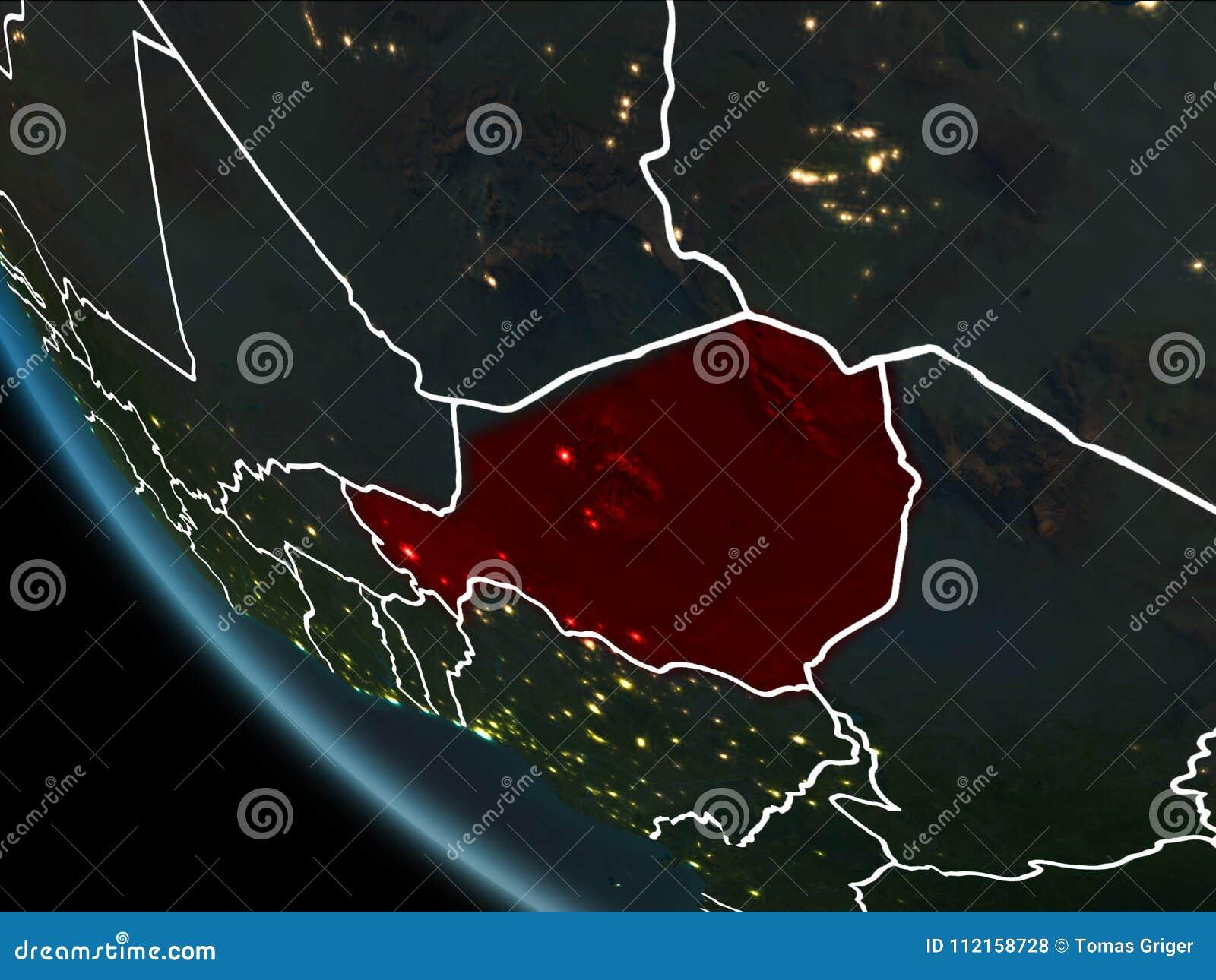 Satellite View Of Niger At Night Stock Illustration Illustration
