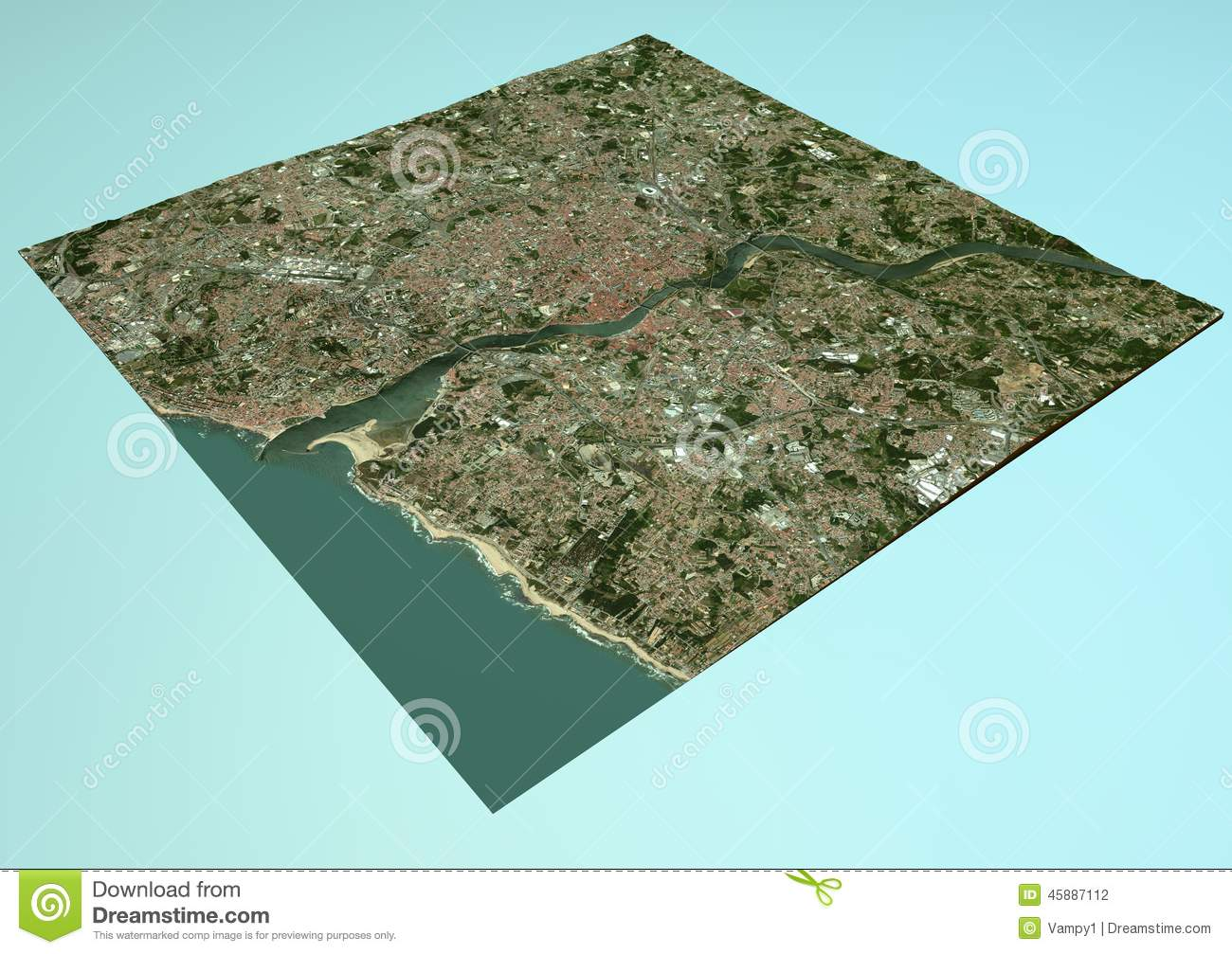 Satellite View Of Porto Portugal Map Section D Stock - Portugal map satellite