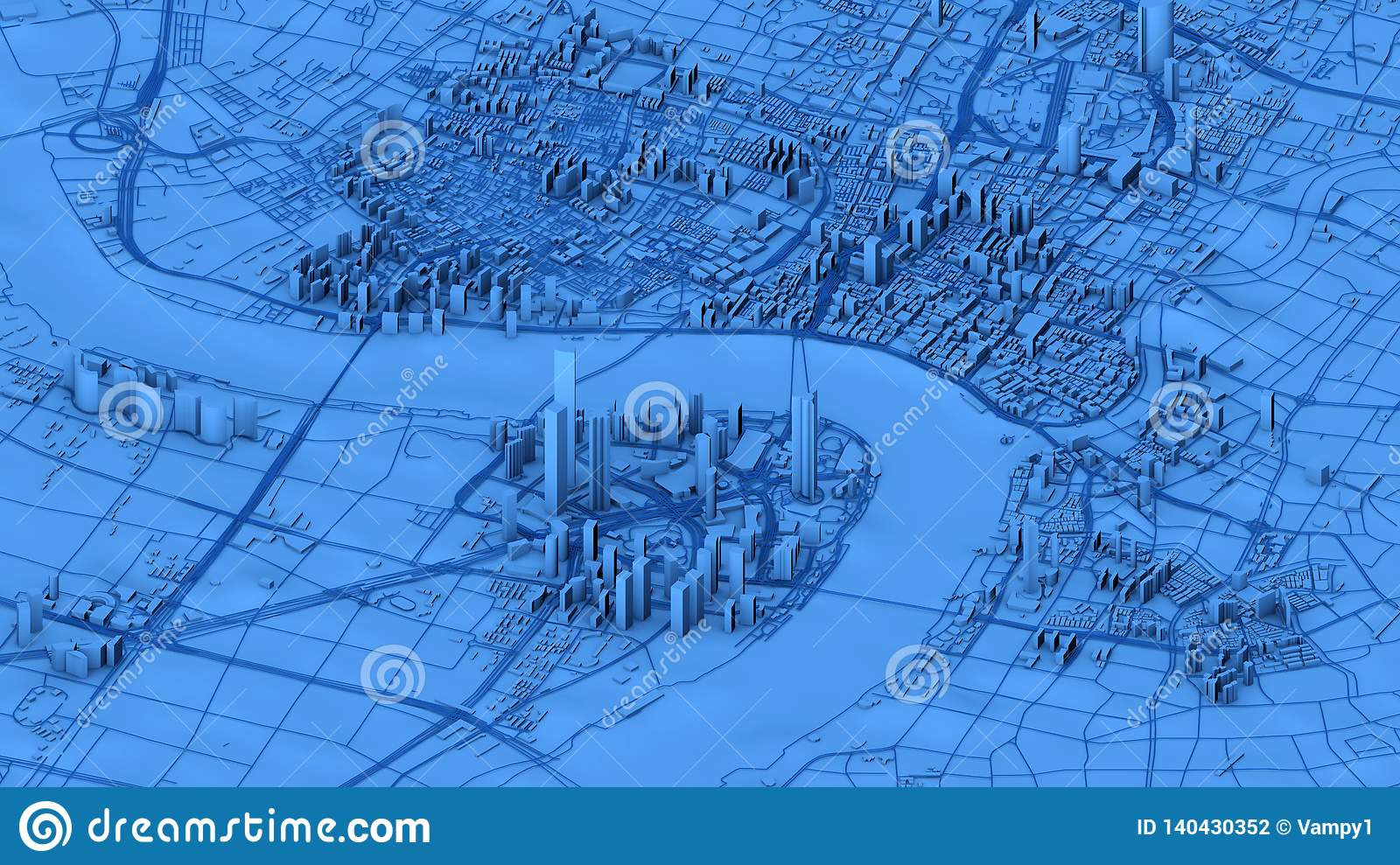 Satellite view of Shanghai, map of the city with house and building. Skyscrapers. China