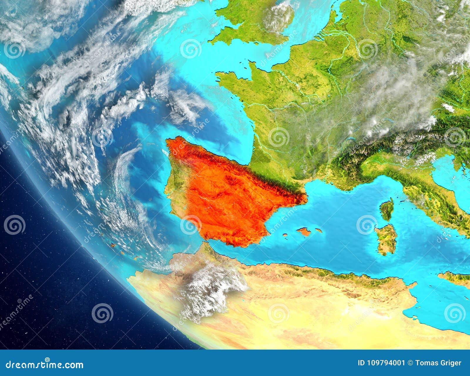 Satellite Map Of Spain.Satellite View Of Spain In Red Stock Illustration Illustration Of