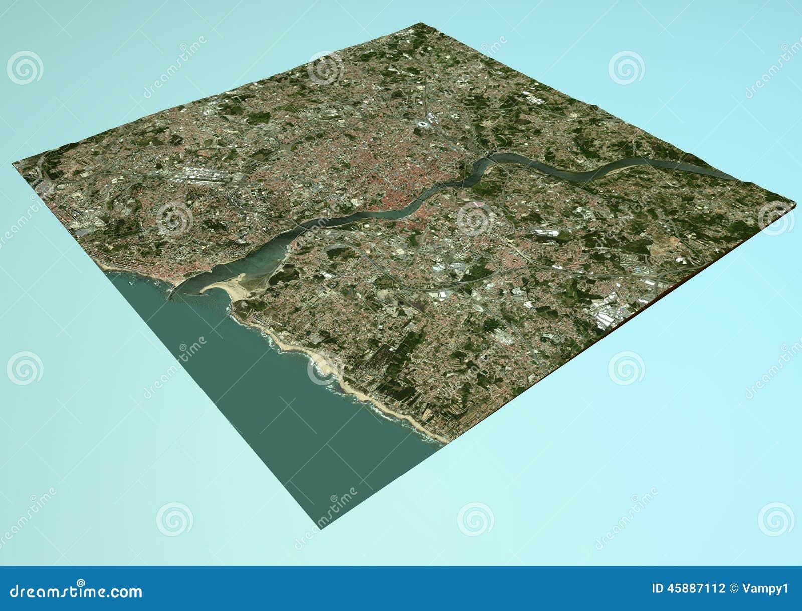 Porto Portugal Karte.Satellitenbild Von Porto Portugal Karte Abschnitt 3d