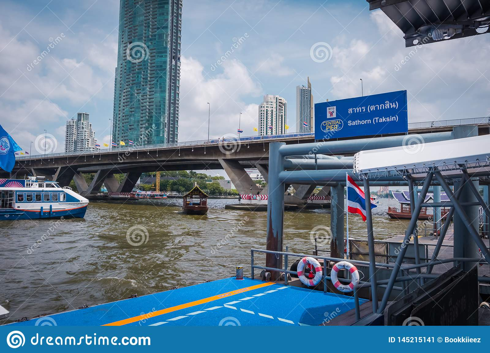 Sathorn Pier at the connection with BTS Saphan Taksin in Bangkok, Thailand.