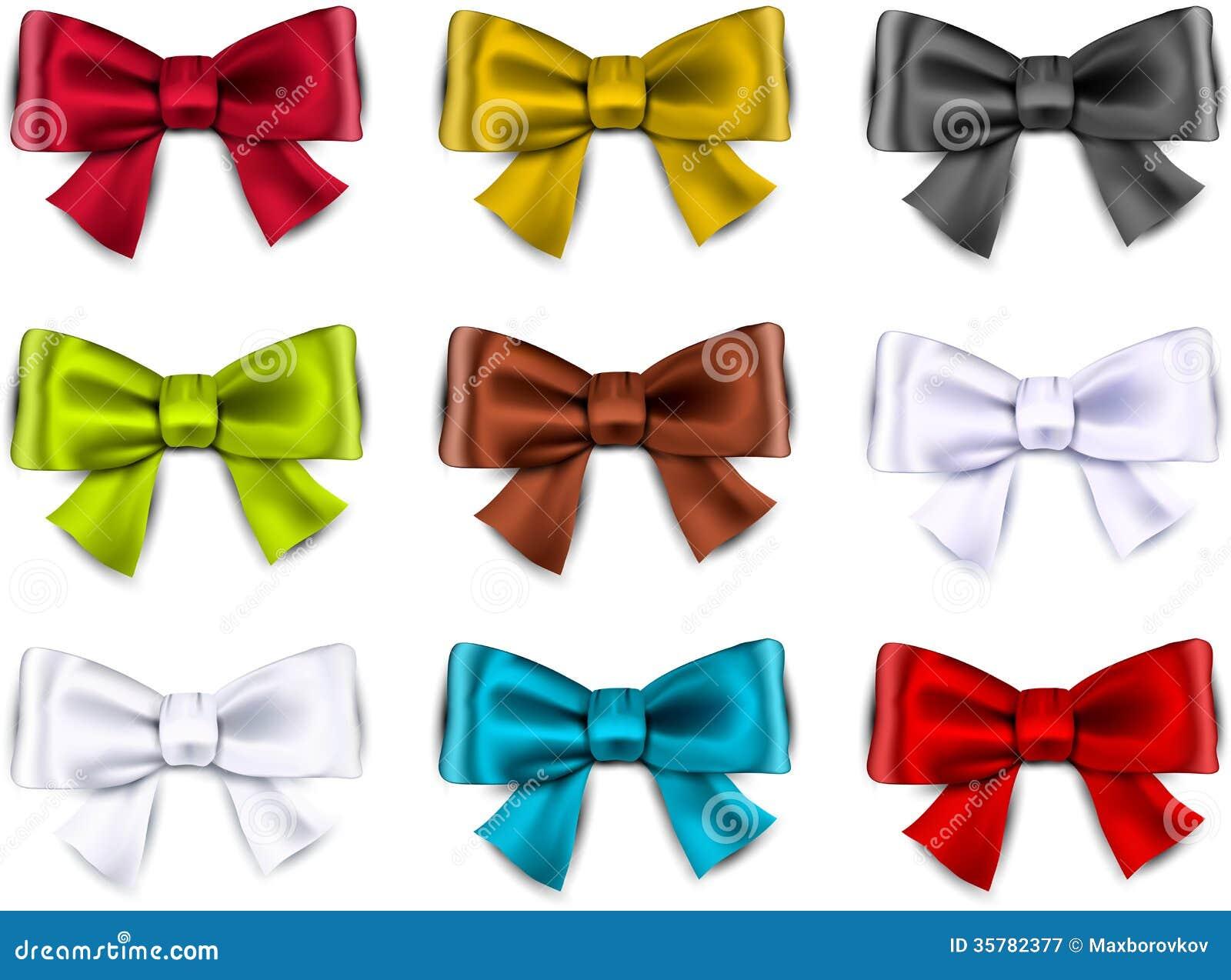 Satin Color Ribbons Gift Bows Royalty Free Stock