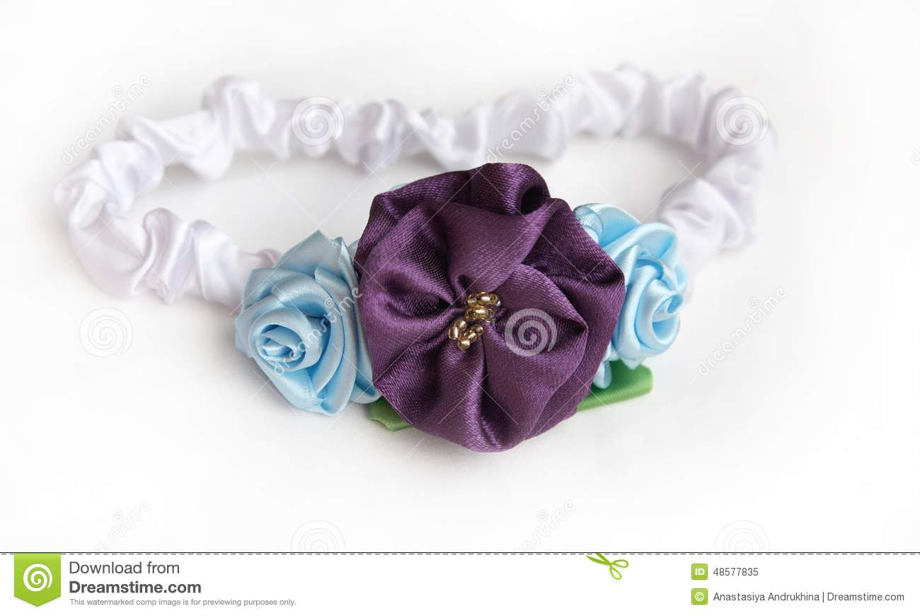 Satin Headband With Flowers Stock Image Image Of Born Clothes