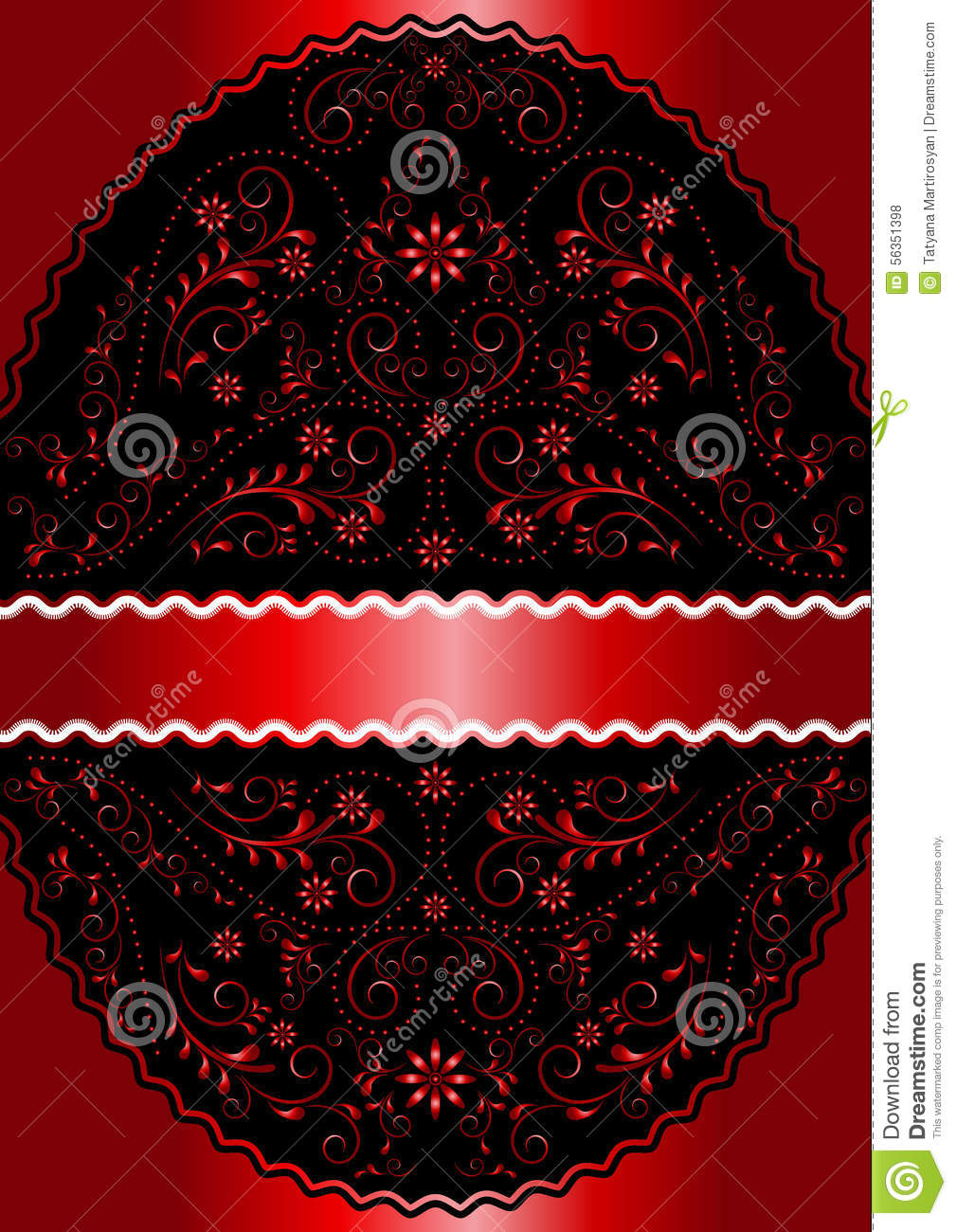 Satin red ribbon in red wavy openwork floral oval frame