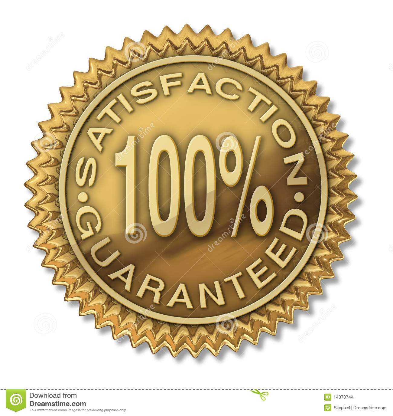 Satisfaction Guaranteed 100 Gold Stamp Illustration 14070744