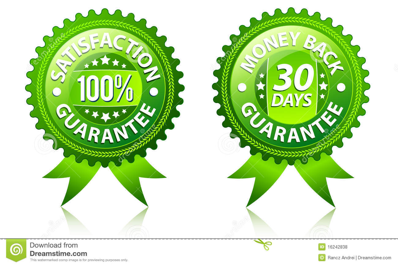 Satisfaction and money back guarantee labels