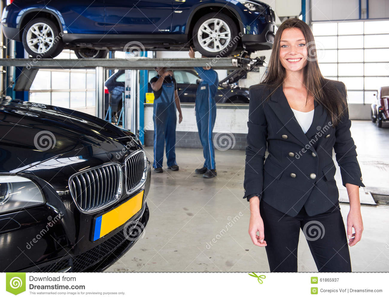 Mechanics and happy customer stock photo cartoondealer for Garage happy car