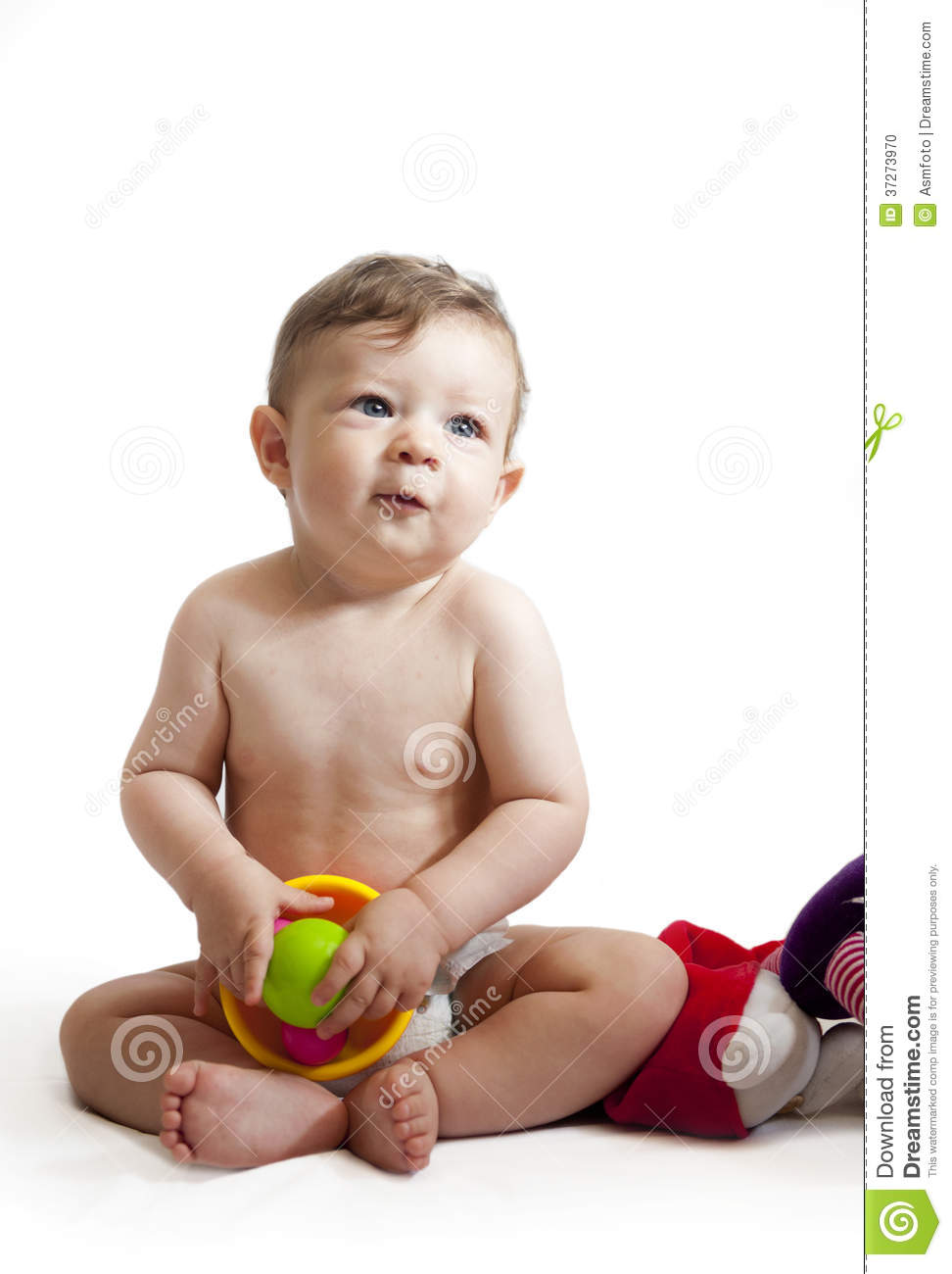 Happy Baby Boy Sitting With His Toys Stock Photo ...