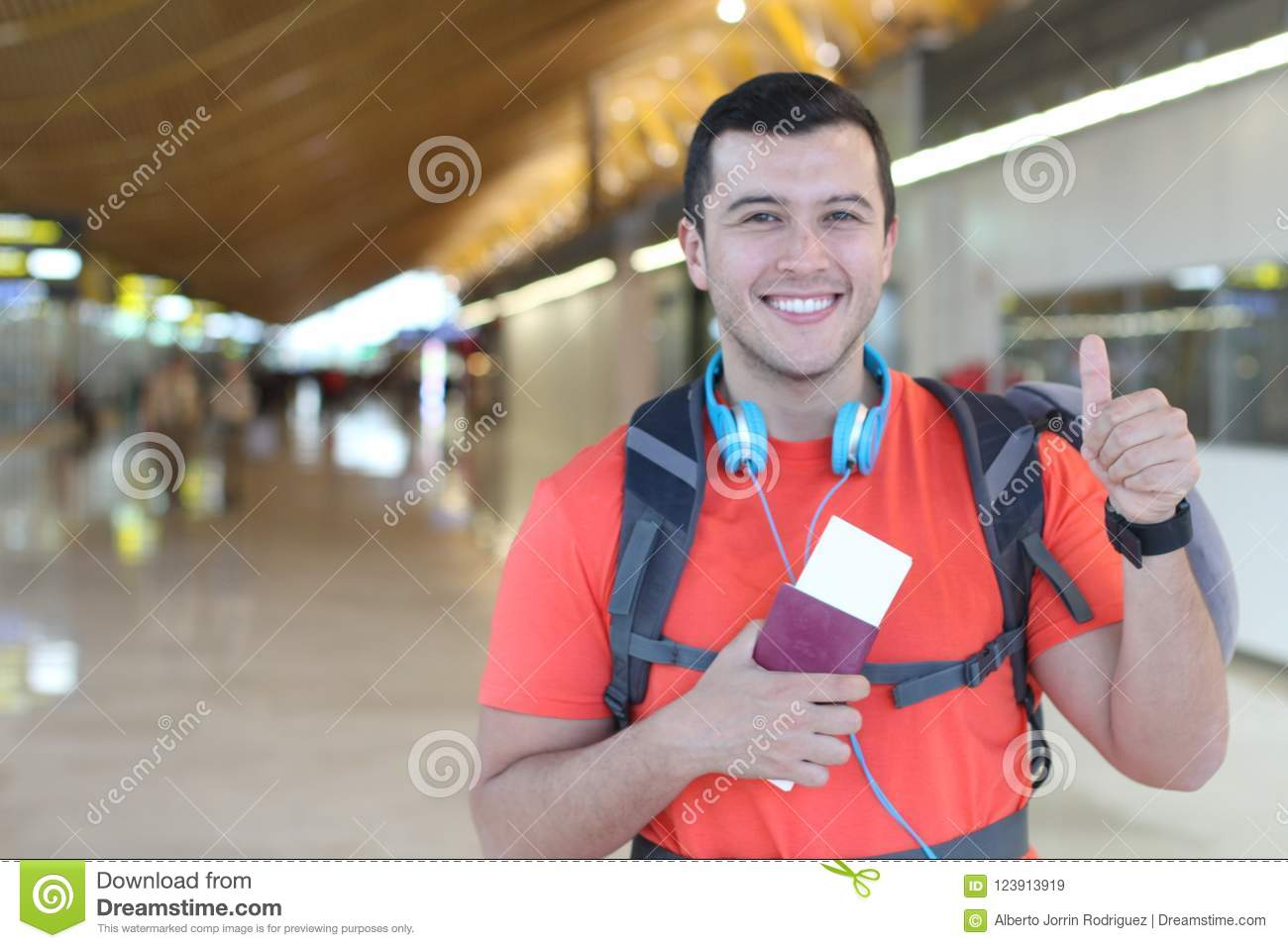 Satisfied traveler giving a thumbs up