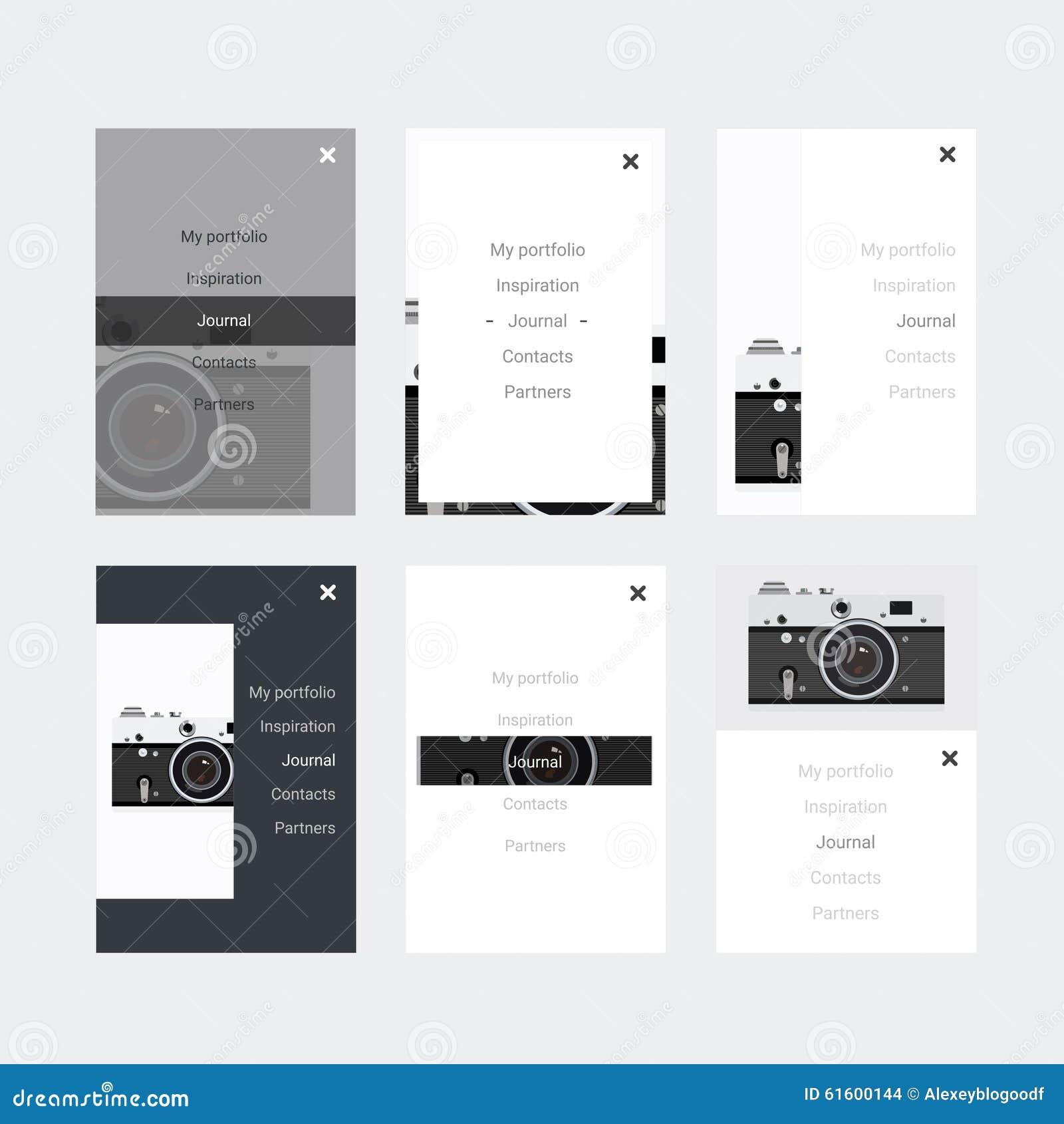 Sats för Minimalistic hipster UI för att planlägga svars- websites, mobila apps & användargränssnittet Gammal kamera på bakgrund