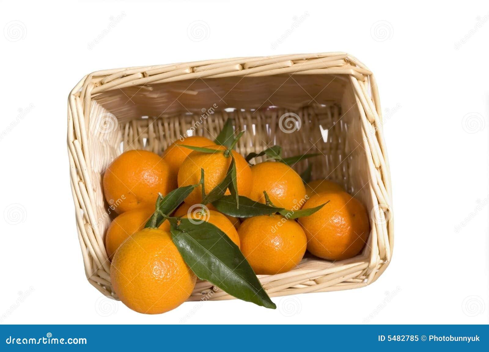 Satsumas in a wicker basket