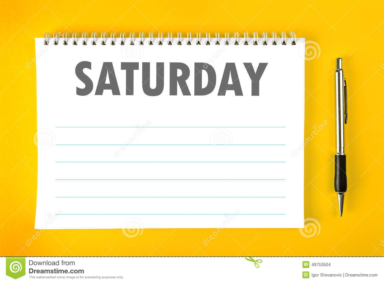 Saturday Calendar Schedule Blank Page Stock Photo Image