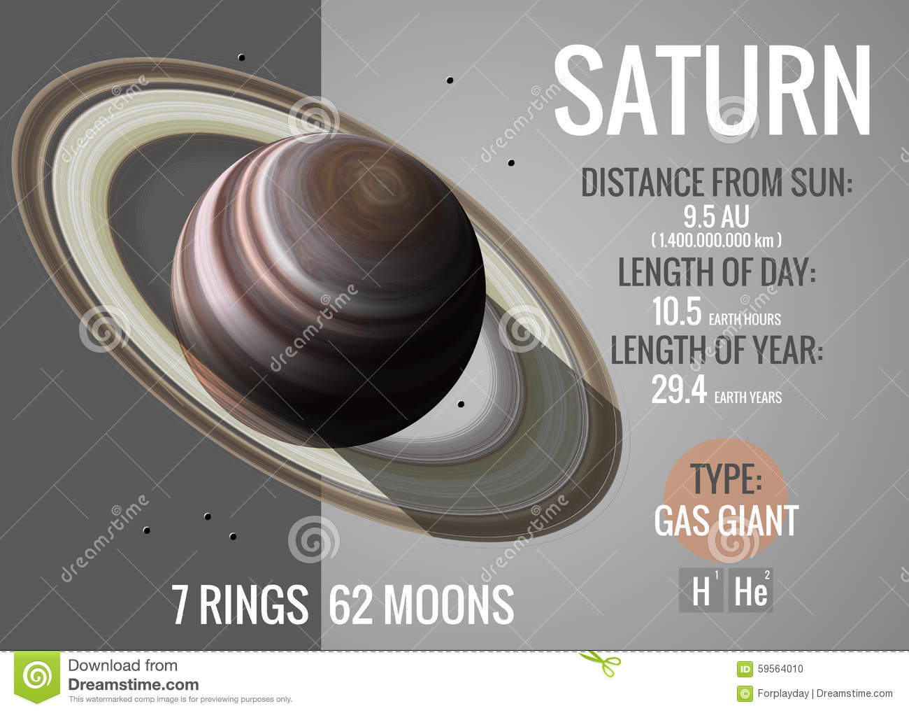 Saturn - Infographic Presents One Of The Solar Stock ...