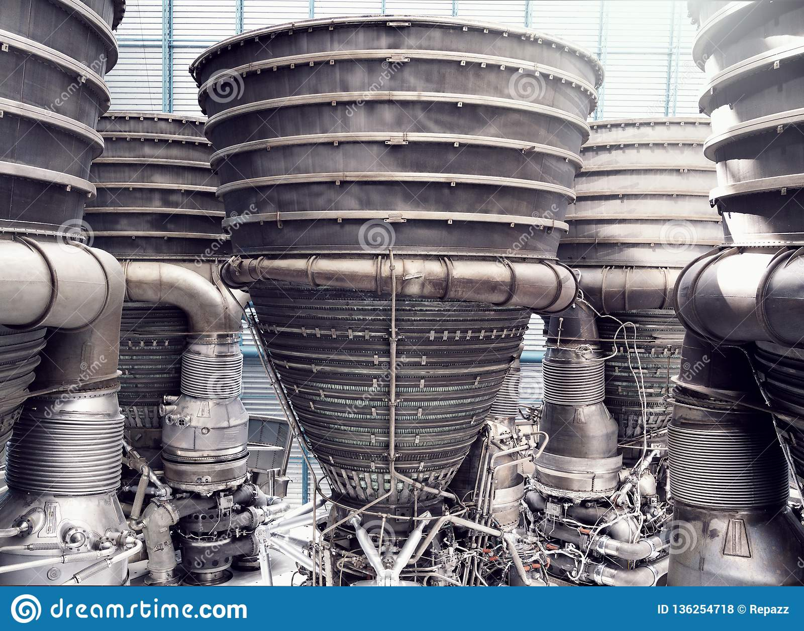 Saturn V Rocket Engines Close Up