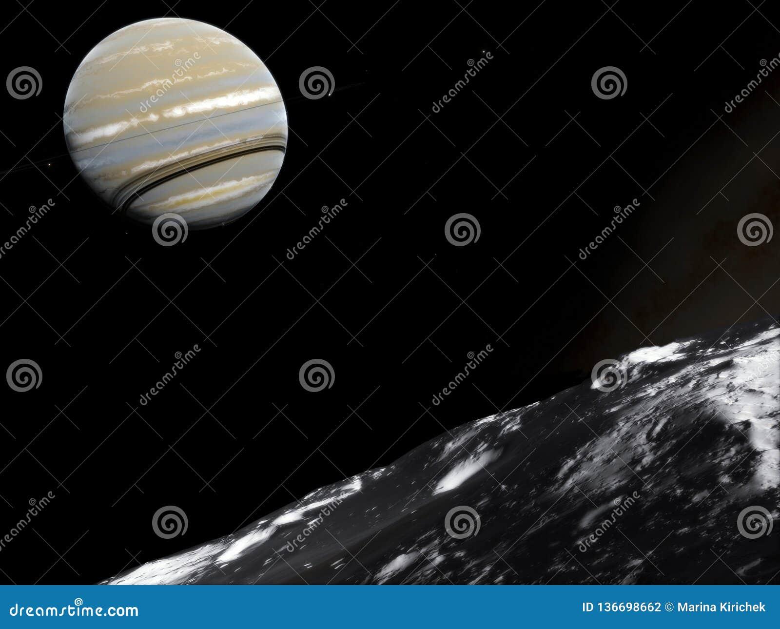 Saturnus Science fiction ruimtebehang, ongelooflijk mooie planeten, melkwegen, donkere en koude schoonheid van eindeloos