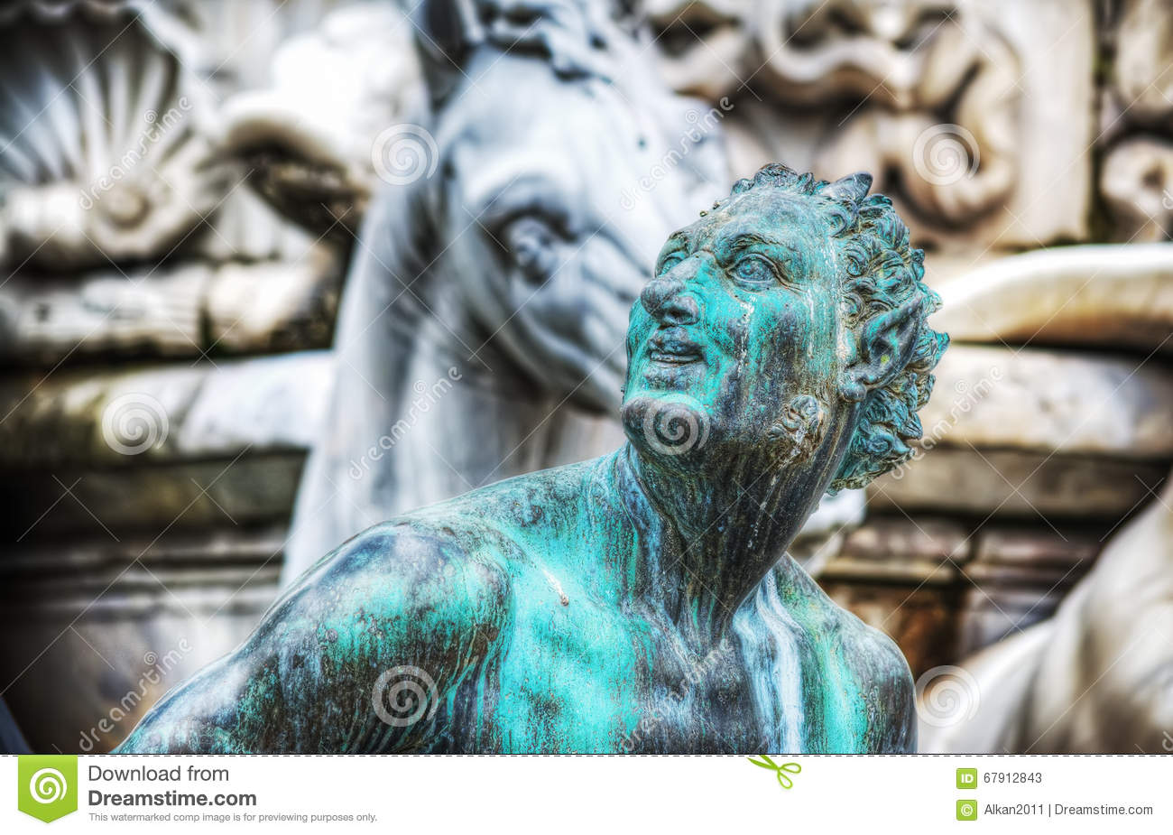 Sculptures at the Neptune Statue in Florence — Stock Photo