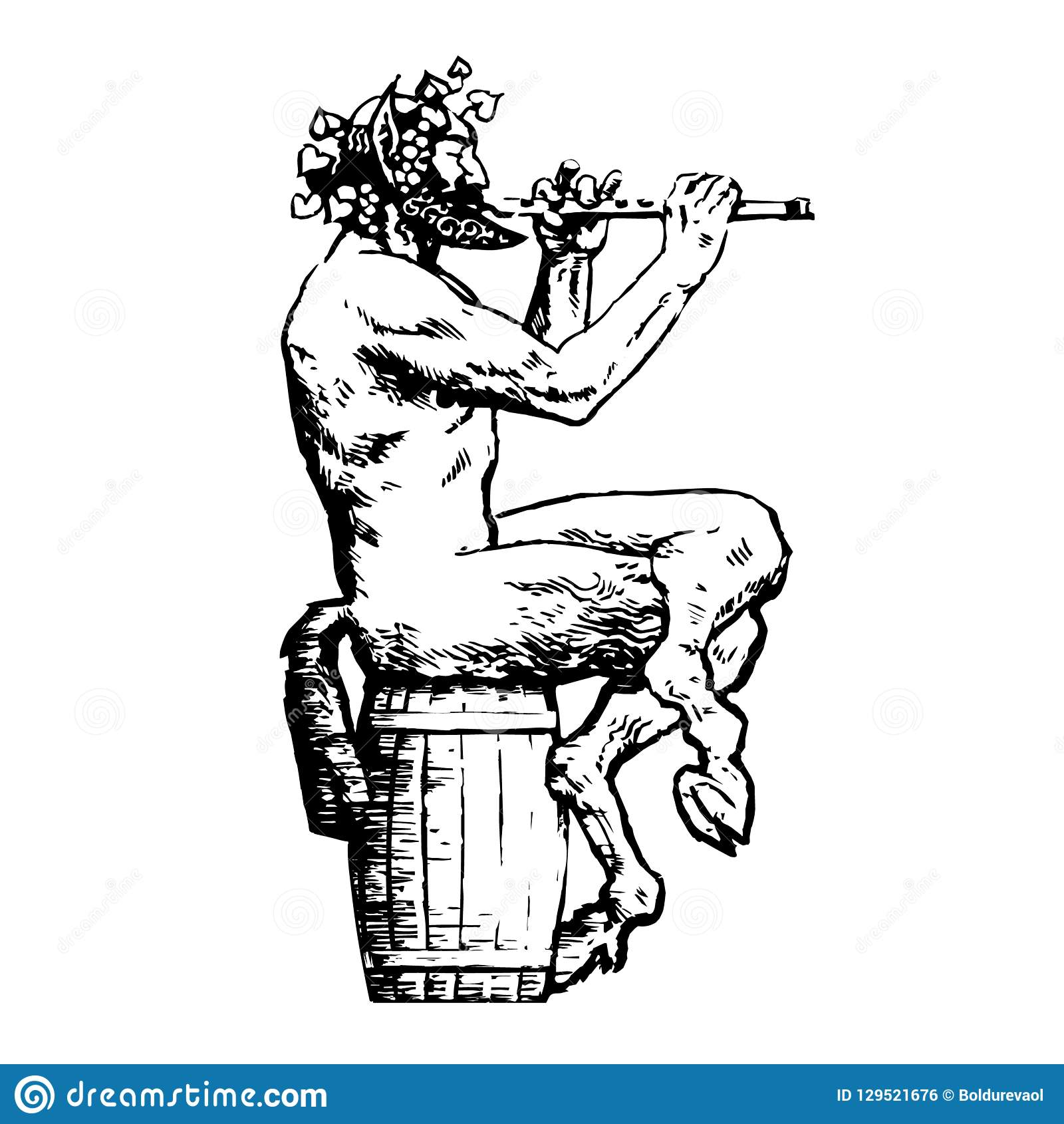 Satyr sitting on wooden barrel and playing flute. Design elements for wine list, menu card, tattoo, Greece or Italy
