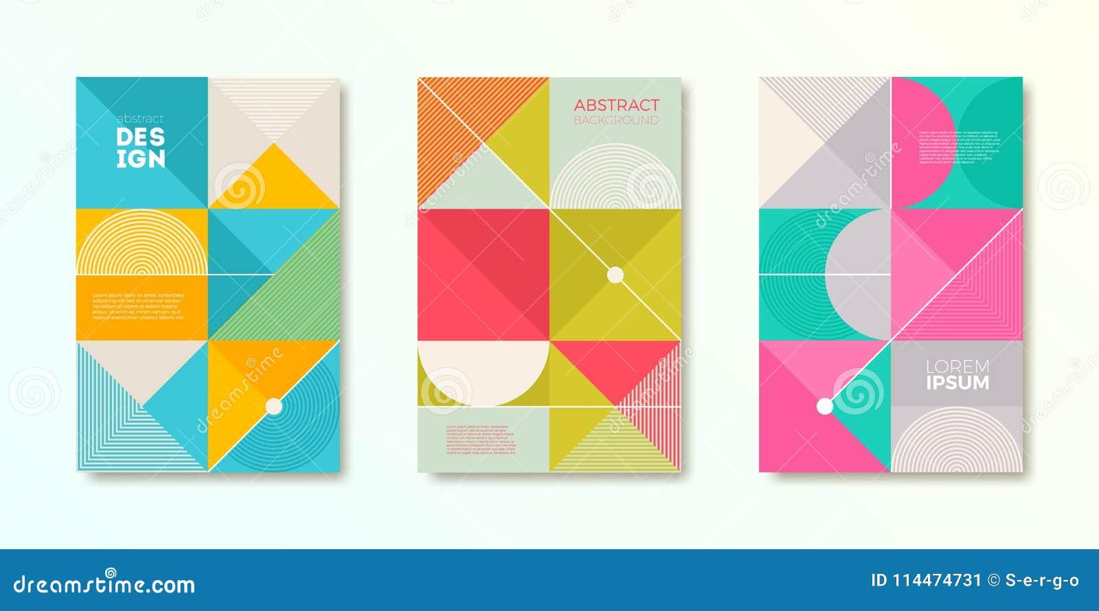 Satz Abdeckungsdesign mit einfachen abstrakten geometrischen Formen Vektorillustrationsschablone