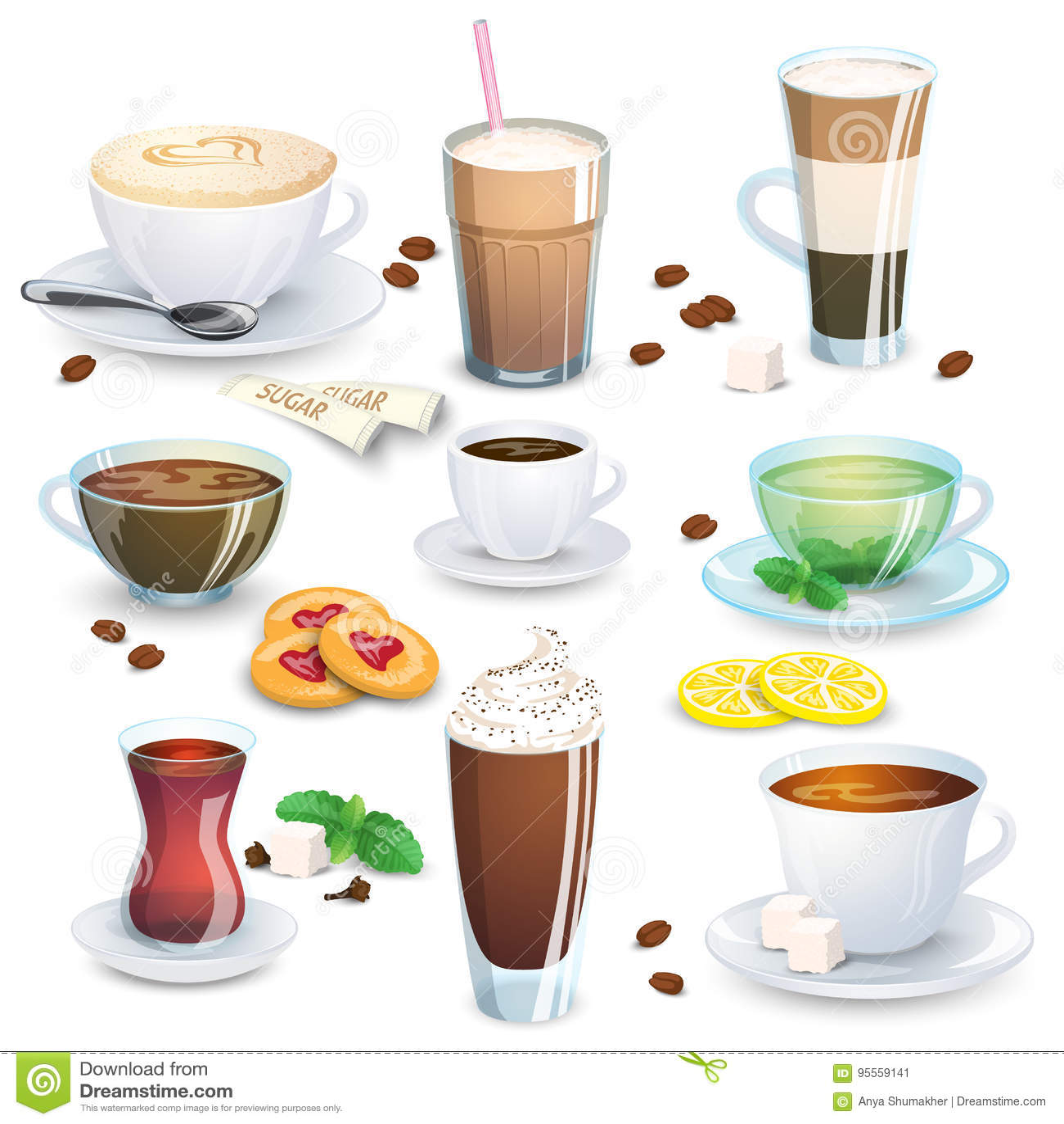 Satz Alkoholfreie Getränke - Tee, Kräutertee, Heiße Schokolade ...