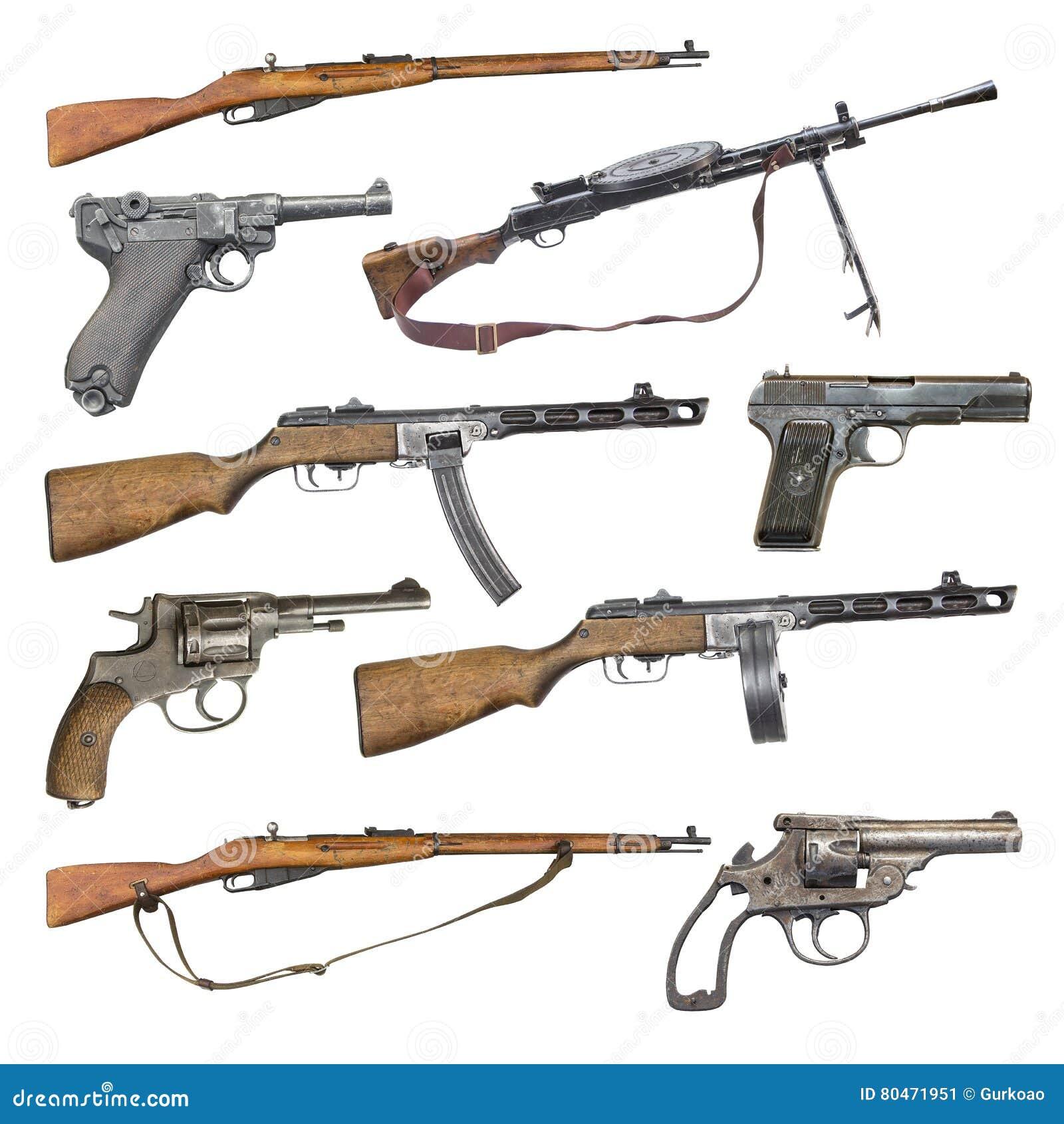 Satz antike Feuerwaffenwaffen