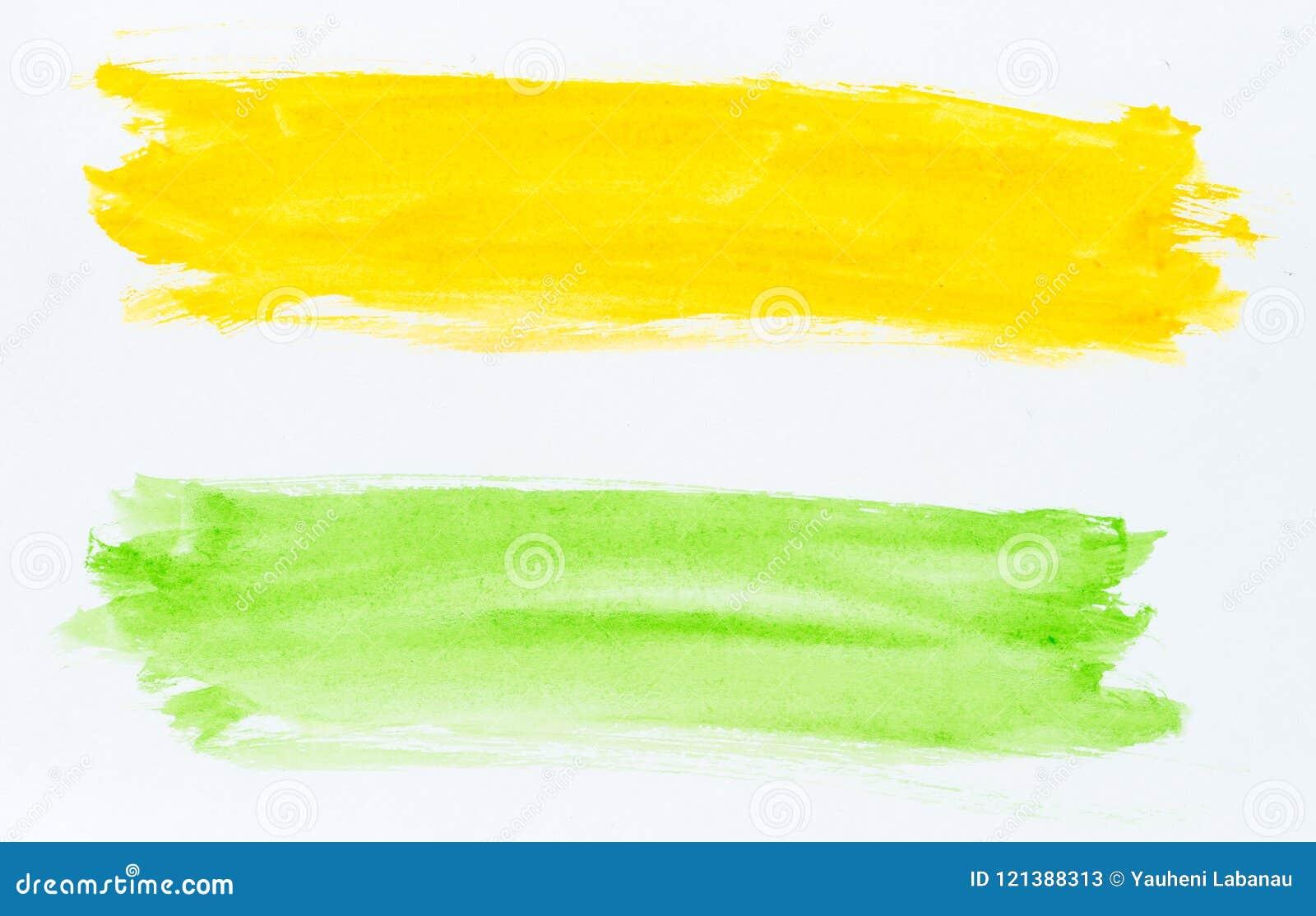 Satz Aquarellbürstenanschläge der grünen und gelben Farbe auf whi
