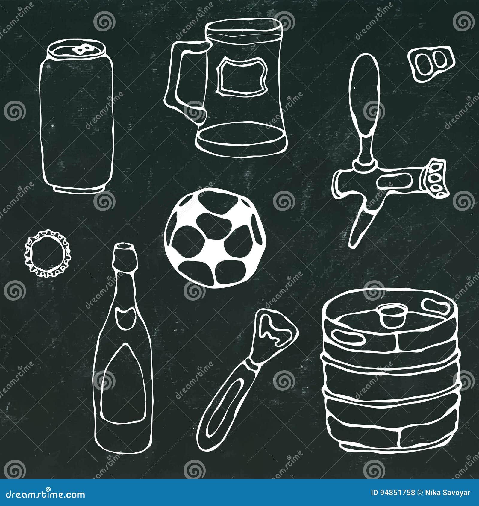 Satz Bier-Gegenstände: Kann Und Schlüssel, Becher, Hahn, Flasche ...