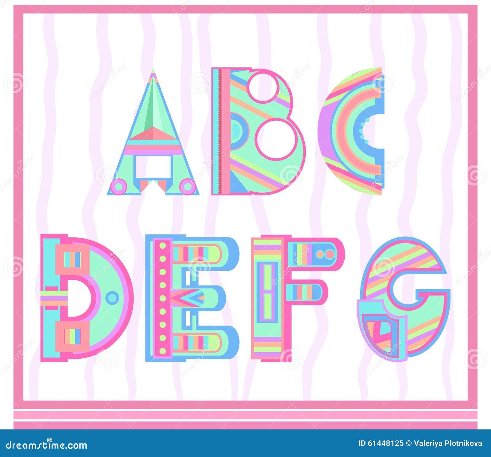 satz buchstaben des alphabetes in einer art der kinder