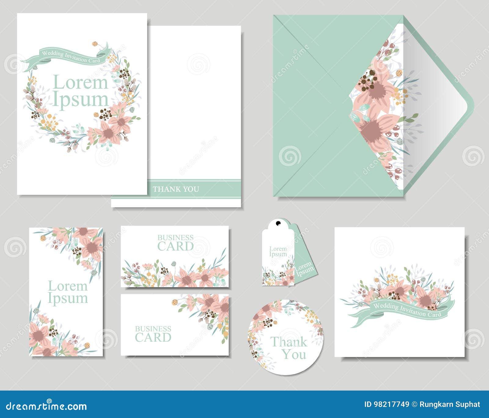 Satz Bunte Blumen Die Hochzeits Einladungskarte Grussen