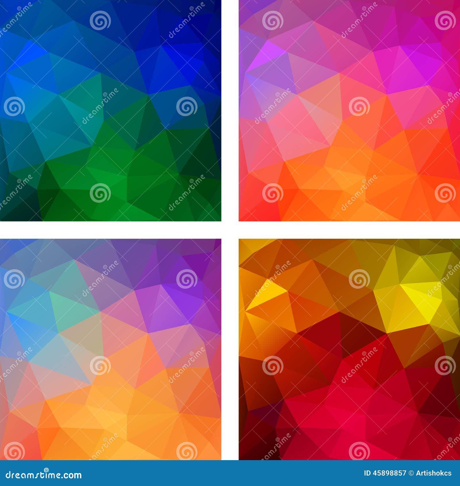 Satz bunte geometrische moderne muster vektor abbildung - Moderne muster ...