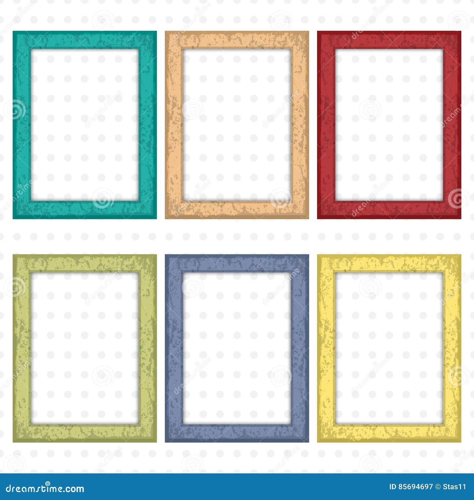 Satz Quadratische Bilderrahmen Vektor Abbildung - Illustration von ...