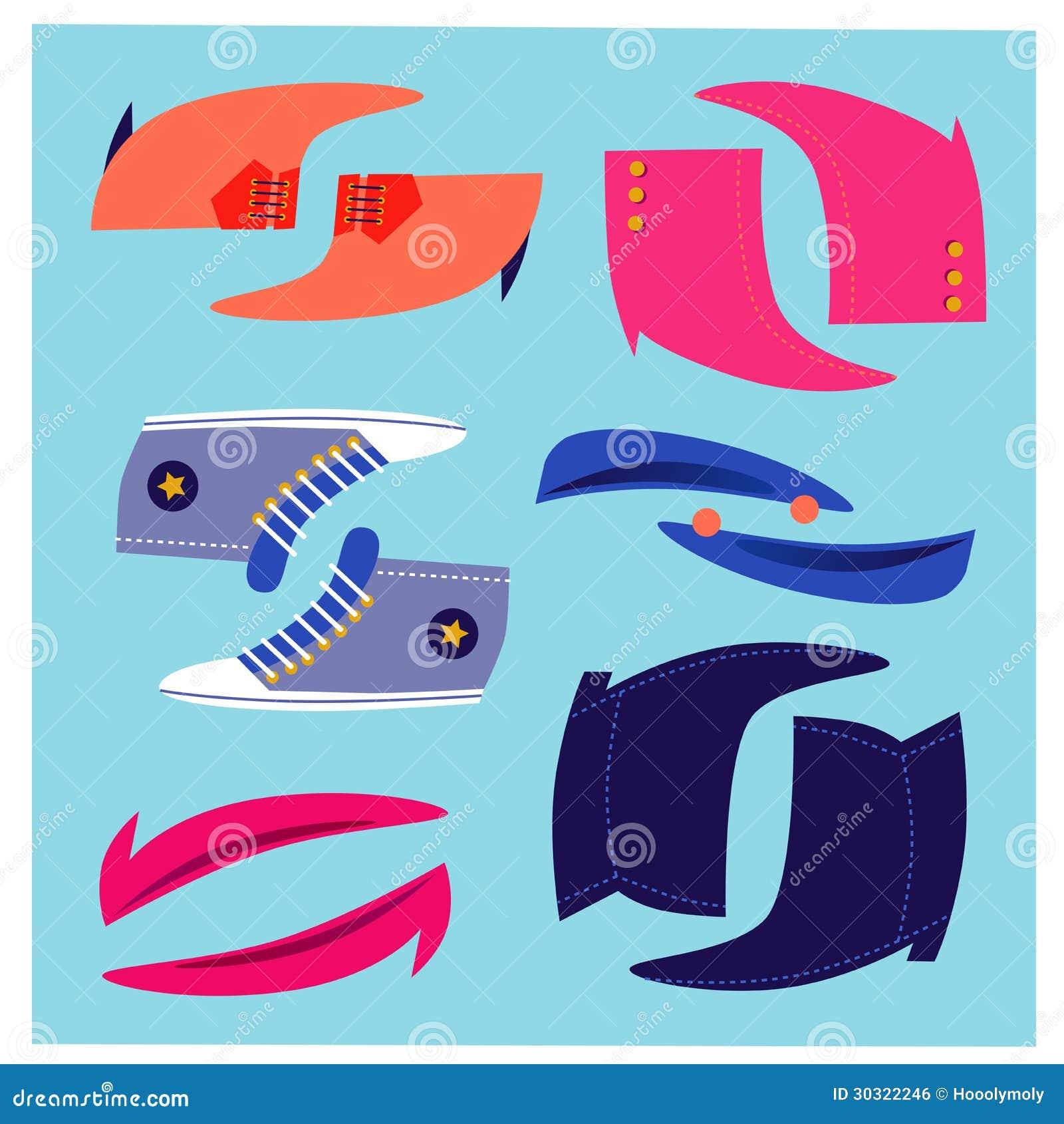 Lustige Schuhe Eingestellt Vektor Abbildung Illustration Von